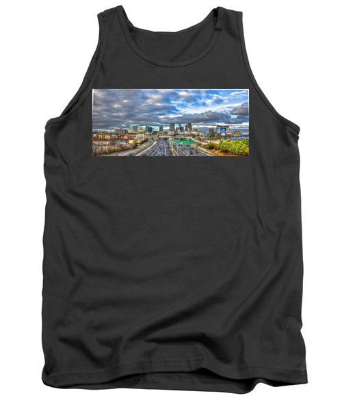 Atlanta Wide Angle Downtown Atlanta Cityscape Skyline Art Tank Top