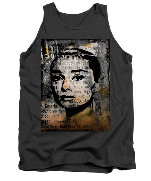 Tank Top featuring the mixed media Audrey Hepburn #2 by Kim Gauge