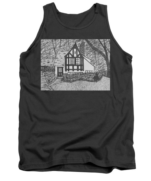 Tank Top featuring the drawing Aunt Vizy's House by Lenore Senior