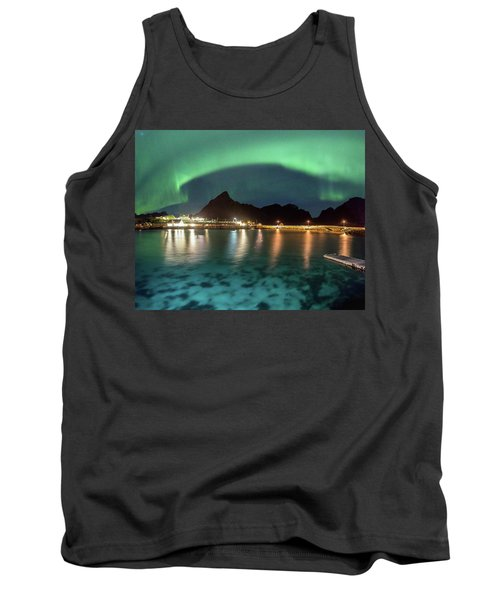 Aurora Above Turquoise Waters Tank Top by Alex Conu