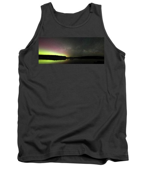 Aurora Borealis And Milky Way Over Yellowstone River Tank Top
