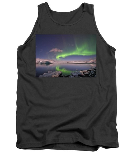 Tank Top featuring the photograph Aurora Borealis And Reflection #2 by Wanda Krack