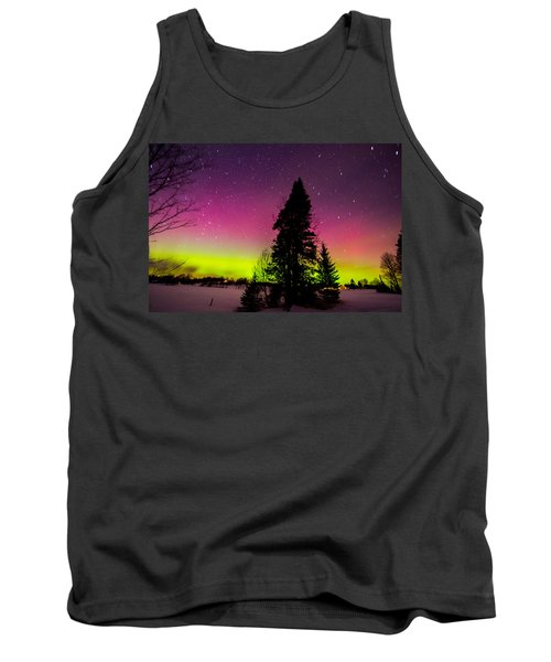 Aurora With Spruce Tree Tank Top by Tim Kirchoff