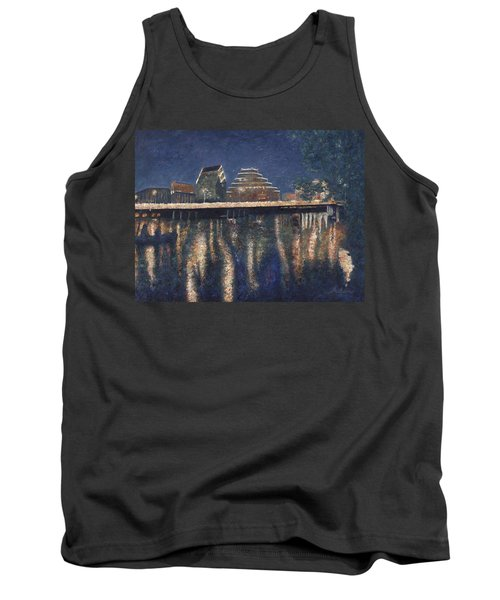 Tank Top featuring the painting Austin At Night by Felipe Adan Lerma