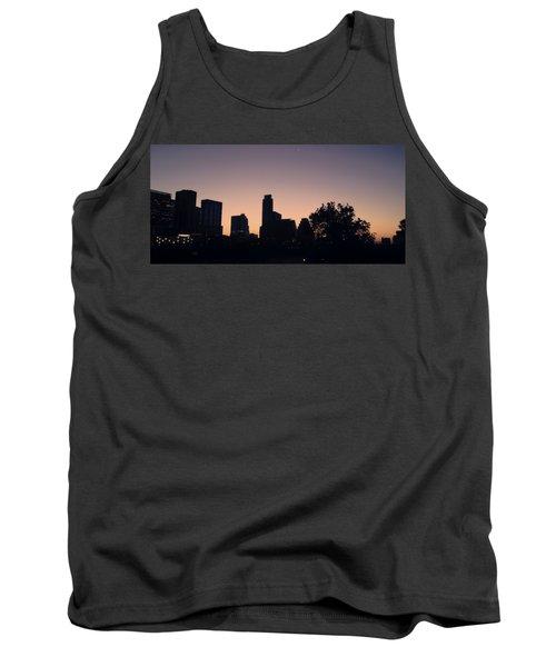 Austin Skyline Sunrise Into A Crescent Moon Panorma Tank Top
