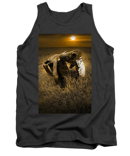Auto Wreck In A Grassy Field On The Prairie At Sunset Tank Top