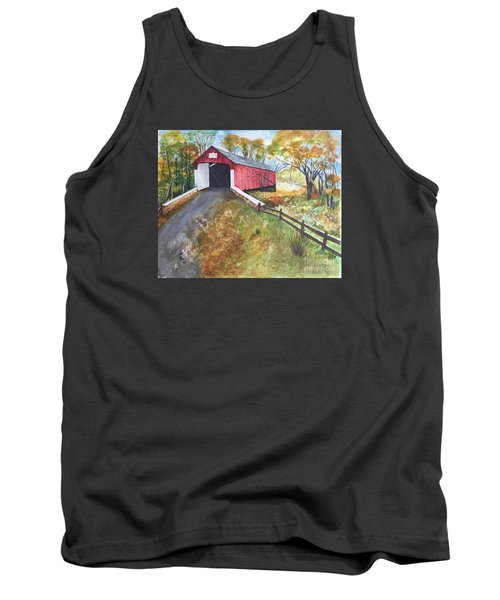 Autumn Afternoon At Knechts Covered Bridge Tank Top by Lucia Grilletto