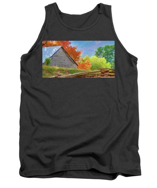 Autumn Barn Digital Watercolor Tank Top