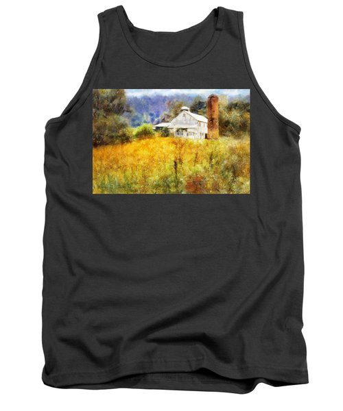 Tank Top featuring the digital art Autumn Barn In The Morning by Francesa Miller