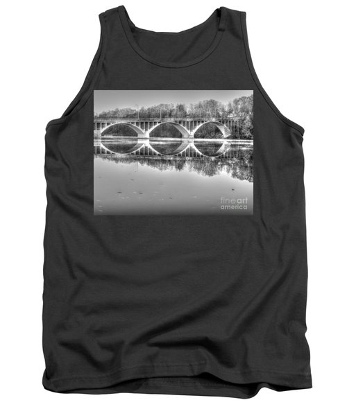 Autumn Bridge Reflections In Black And White Tank Top