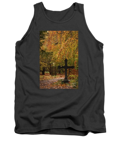Tank Top featuring the photograph Autumn Cemetary by Inge Riis McDonald