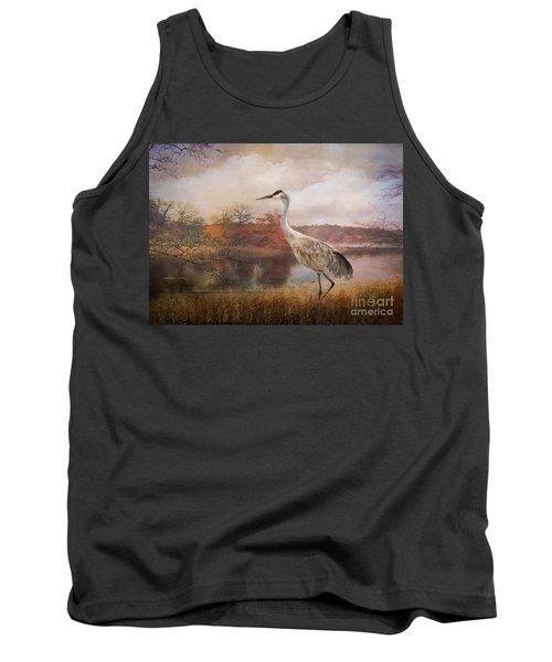 Autumn Lake Crane Tank Top