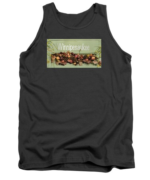 Tank Top featuring the photograph Autumn Lake Winnipesaukee Sign Fall by Betty Denise