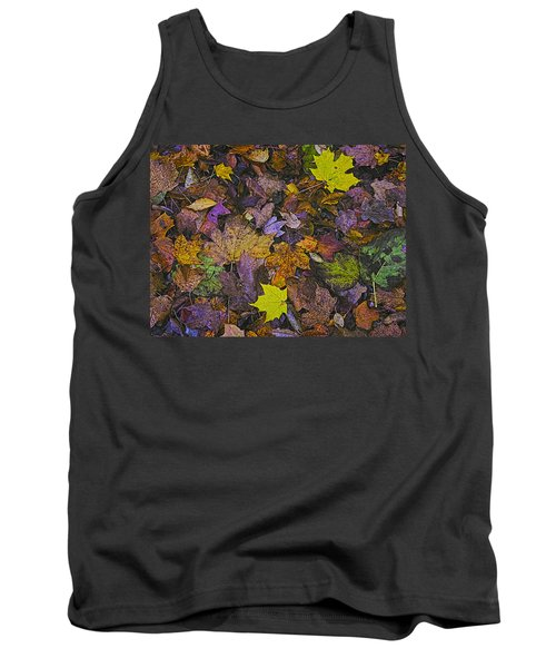 Autumn Leaves At Side Of Road Tank Top