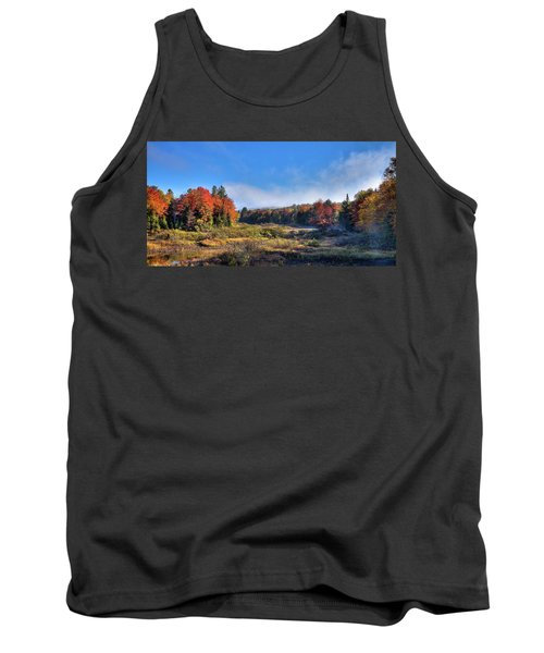 Tank Top featuring the photograph Autumn Panorama At The Green Bridge by David Patterson