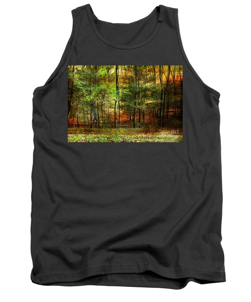 Autumn Sunset - In The Woods Tank Top by Judy Palkimas