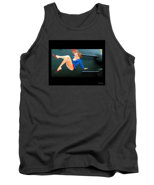 Babe On Wwii Bomber The Show Me Tank Top by Kathy Barney