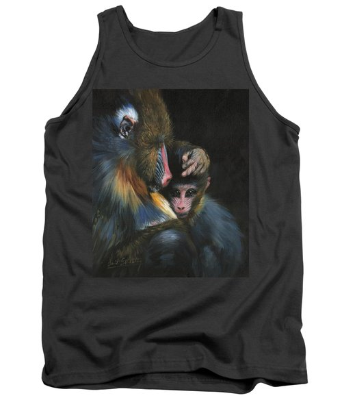 Tank Top featuring the painting Baboon Mother And Baby by David Stribbling