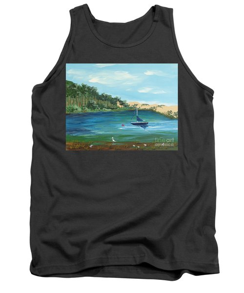 Tank Top featuring the painting Back Bay From Back Bay Inn Los Osos Ca by Katherine Young-Beck