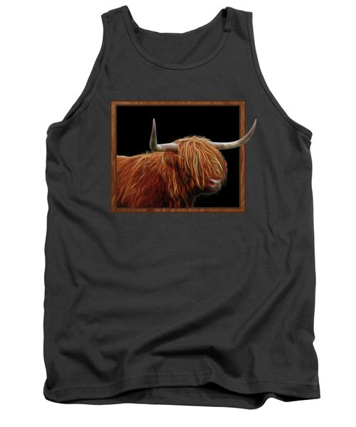 Bad Hair Day - Highland Cow - On Black Tank Top by Gill Billington