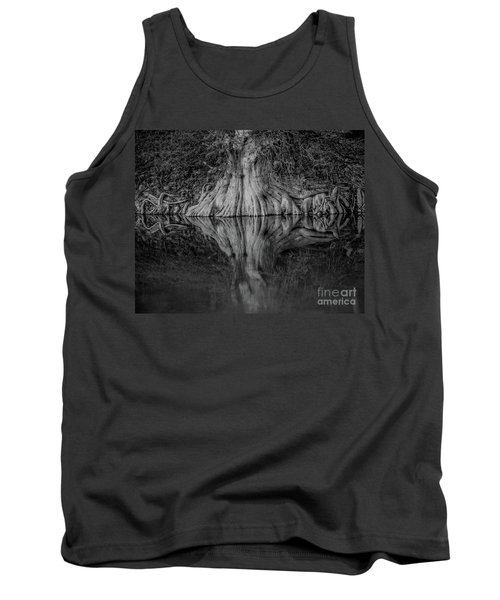 Bald Cypress Reflection In Black And White Tank Top