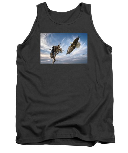 Tank Top featuring the photograph Bald Eagle Landing On Old Nest by Brian Tarr