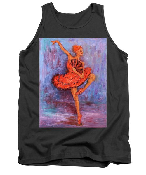 Tank Top featuring the painting Ballerina Dancing With A Fan by Xueling Zou