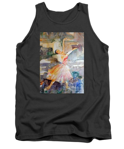 Tank Top featuring the painting Ballerina In Motion by Mary Haley-Rocks