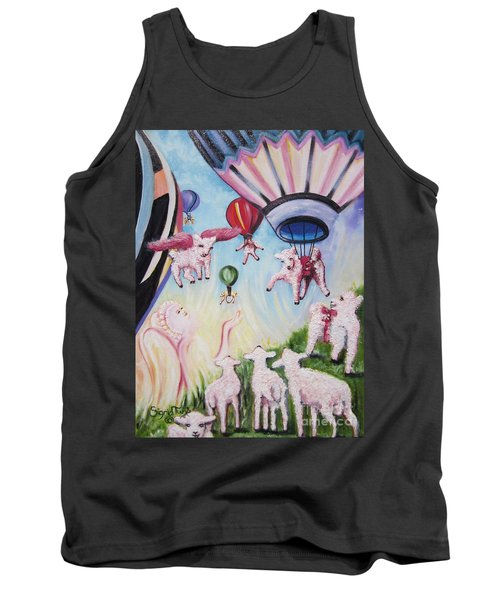 Tank Top featuring the painting Balloons Away by Sigrid Tune