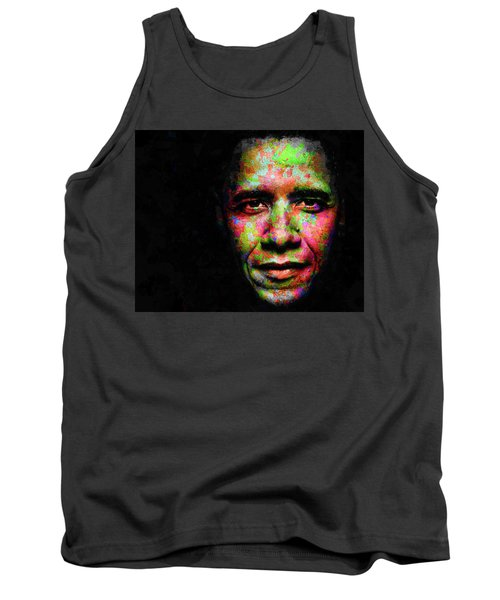 Tank Top featuring the mixed media Barack Obama by Svelby Art