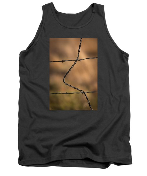 Tank Top featuring the photograph Barbed And Bent Fence by Monte Stevens