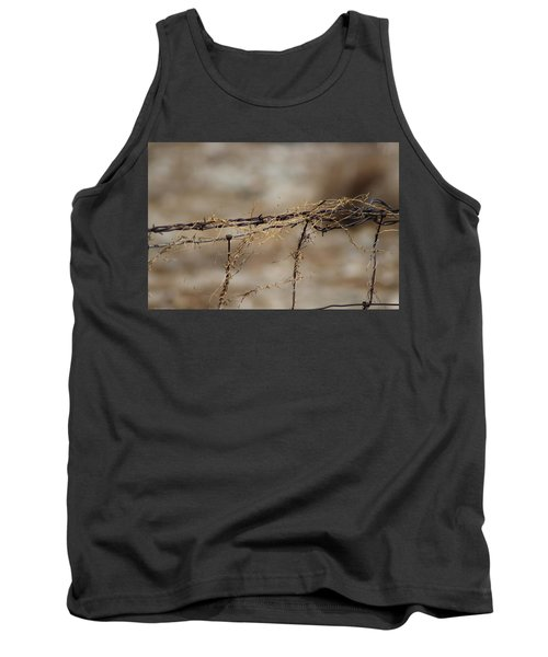 Barbed Wire Entwined With Dried Vine In Autumn Tank Top