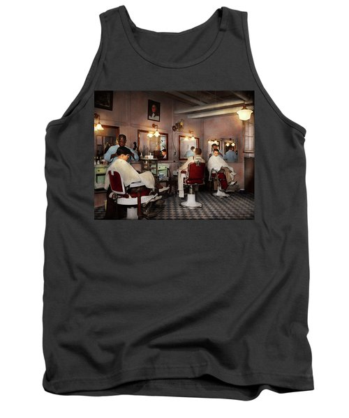 Tank Top featuring the photograph Barber - Senators-only Barbershop 1937 by Mike Savad