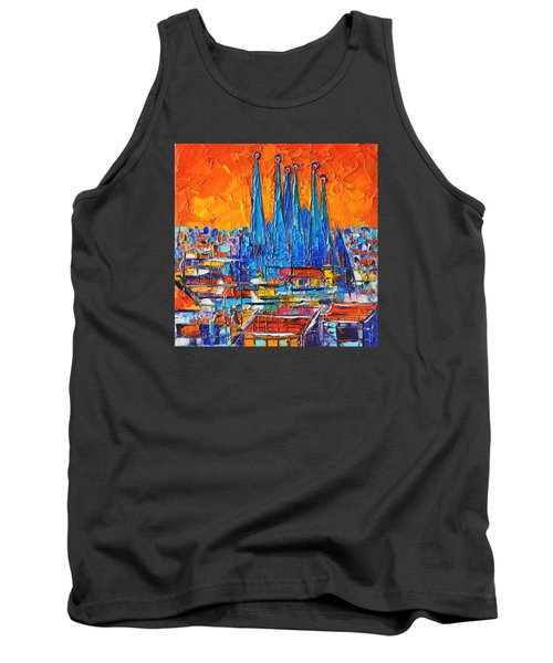 Barcelona Abstract Cityscape 7 - Sagrada Familia Tank Top by Ana Maria Edulescu