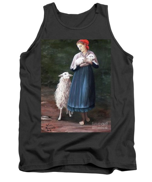 Tank Top featuring the painting Barefoot Shepherdess by Judy Kirouac