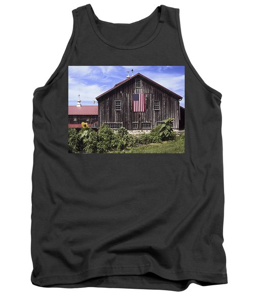 Barn And American Flag Tank Top
