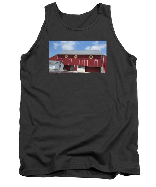 Tank Top featuring the photograph Barn With Hex Signs by Jeanette Oberholtzer