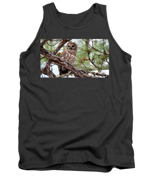 Barred Owl On Tree Branch Tank Top