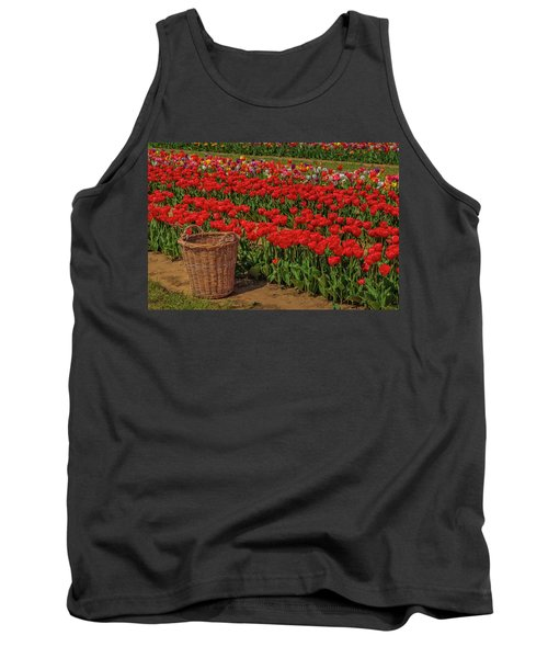 Tank Top featuring the photograph Basket For Tulips by Susan Candelario