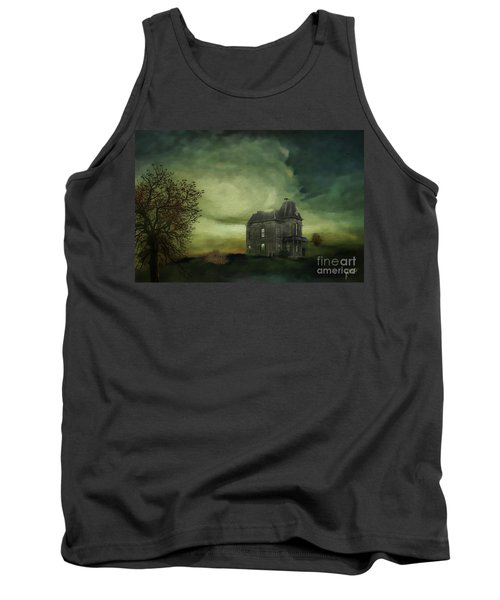 Tank Top featuring the mixed media Bates Residence by Jim  Hatch