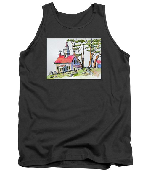 Tank Top featuring the painting Battery Point Lighthouse by Terry Banderas