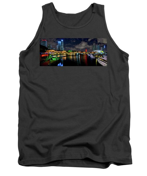 Tank Top featuring the photograph Bayside Miami Florida At Night Under The Stars by Justin Kelefas