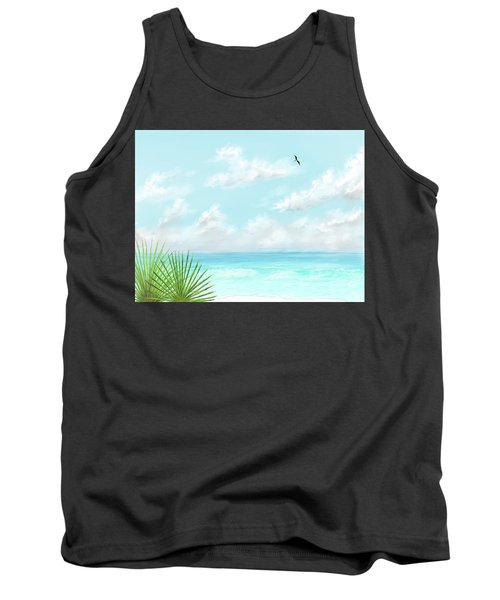 Tank Top featuring the digital art Beach And Palms by Darren Cannell