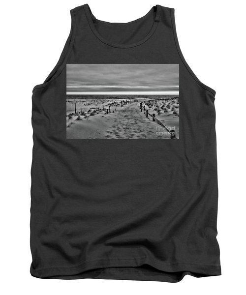 Tank Top featuring the photograph Beach Entry In Black And White by Paul Ward