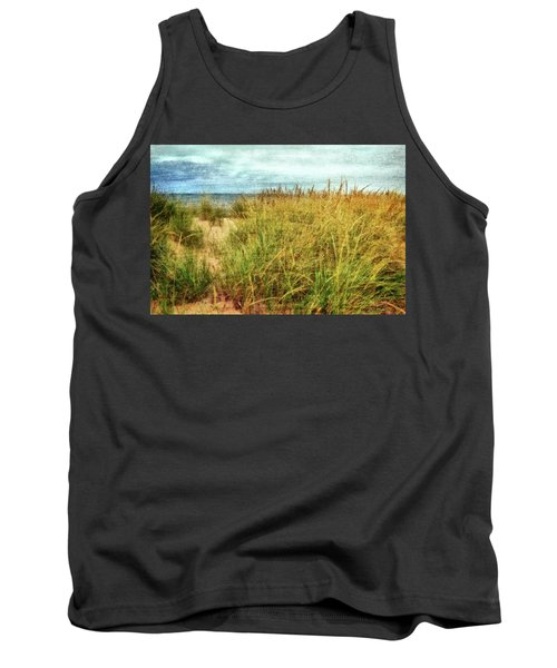 Tank Top featuring the digital art Beach Grass Path - Painterly by Michelle Calkins