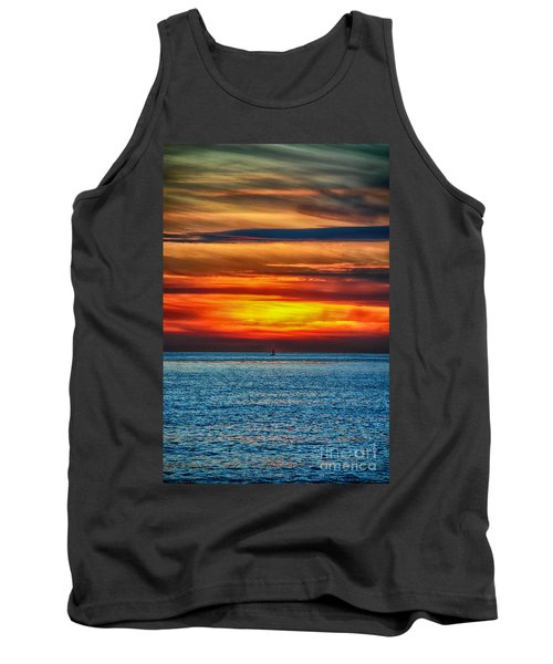 Tank Top featuring the photograph Beach Sunset And Boat by Mariola Bitner