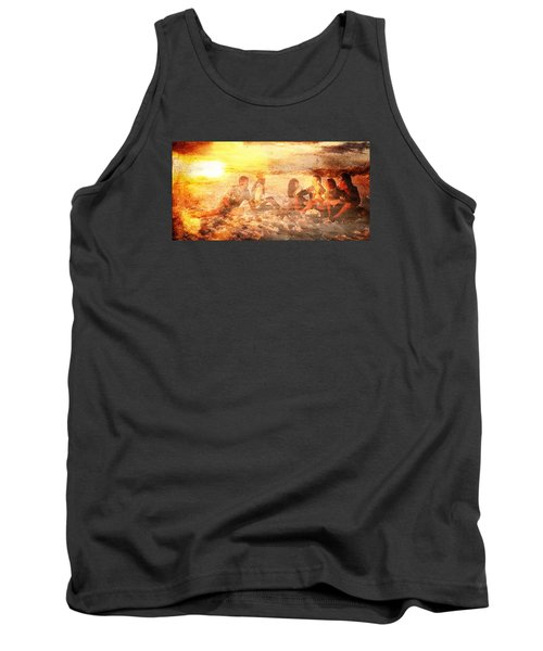 Tank Top featuring the digital art Beach Sunset With Friends by Andrea Barbieri