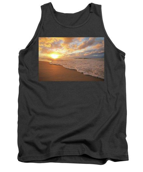 Beach Sunset With Golden Clouds Tank Top