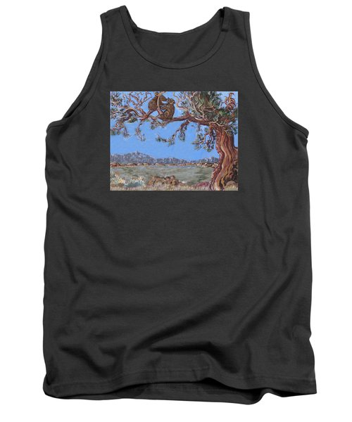 Tank Top featuring the painting Bear Cubs In Cedar by Dawn Senior-Trask