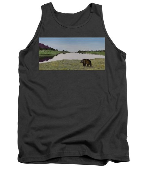 Tank Top featuring the painting Bear Reflecting by Kevin Daly
